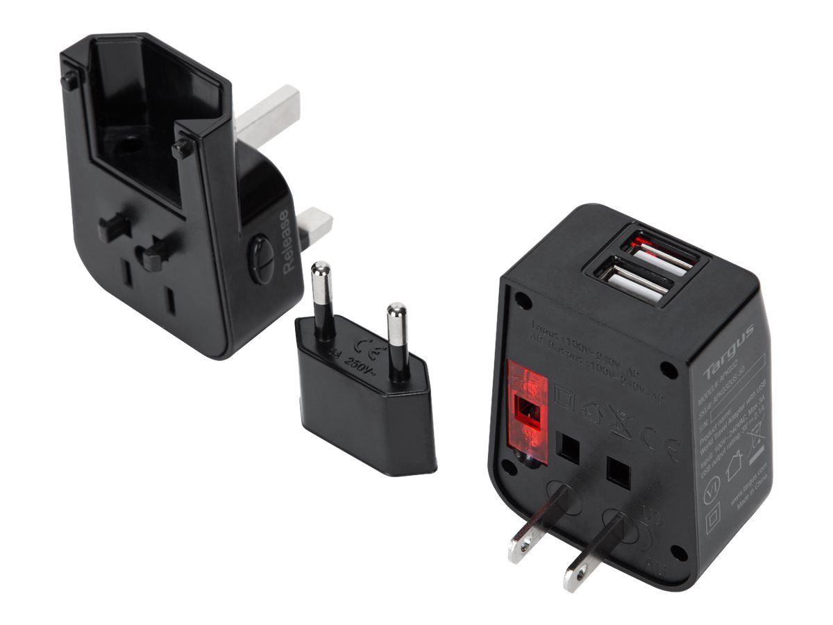 Targus World Travel Power Adapter with Dual USB Charging Ports power adapter - USB