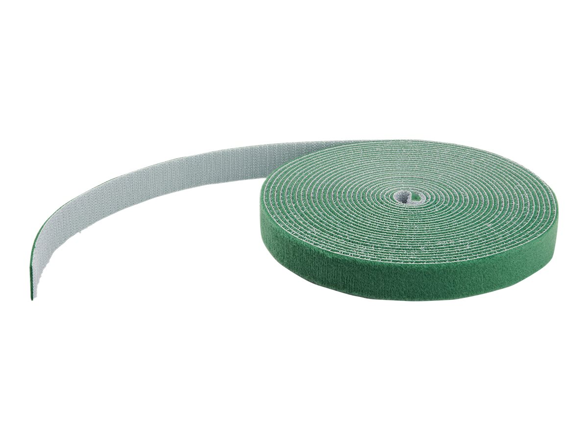 StarTech.com 25ft Hook and Loop Roll, Cut-to-Size Reusable Cable Ties, Bulk Industrial Wire Fastener Tape / Adjustable Fabric Wraps Green / Resuable Self Gripping Cable Management Straps - Adjustable Loop Ties (HKLP25GN) - hook & loop fastener