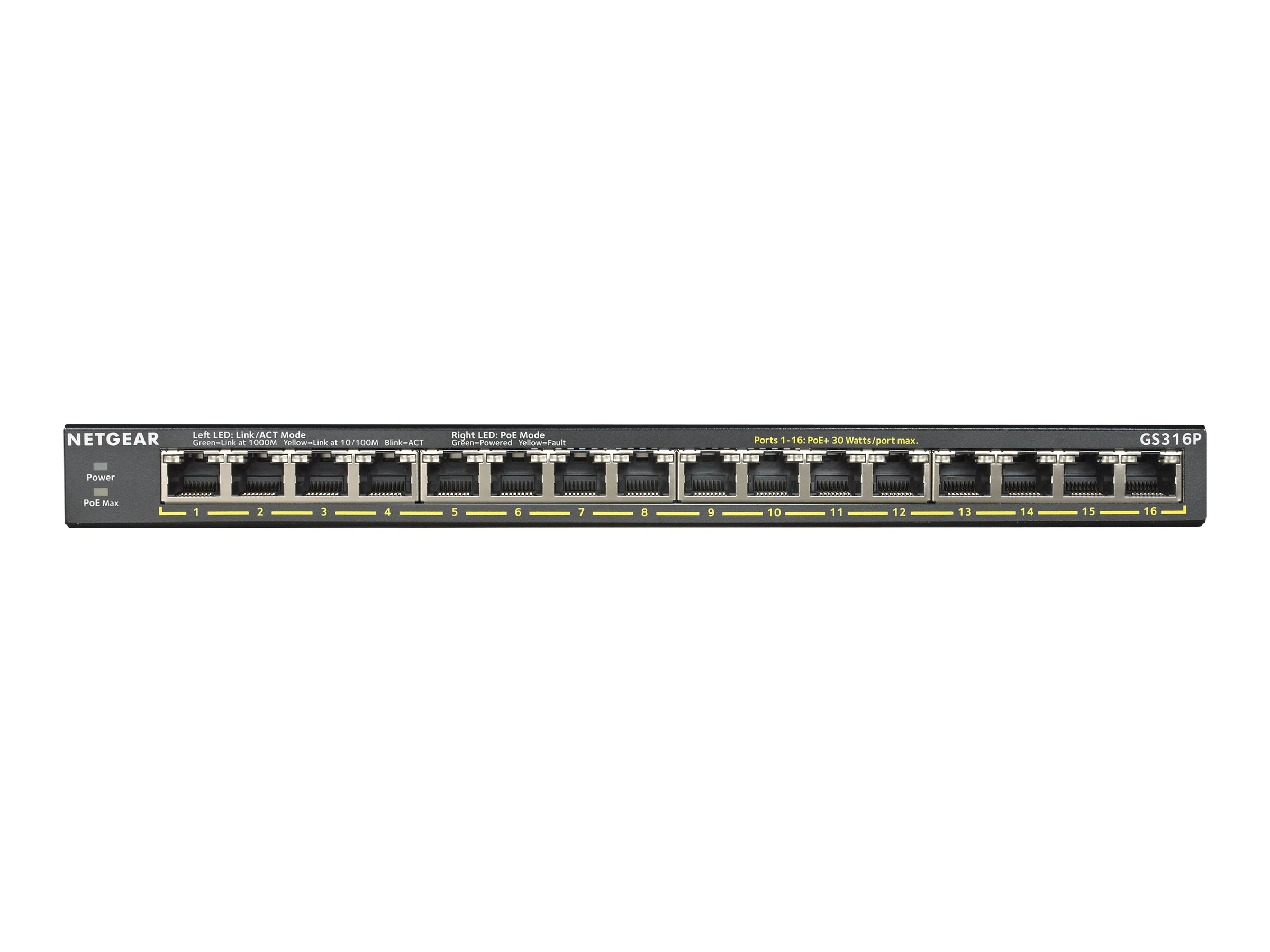 NETGEAR GS316P - switch - 16 ports - unmanaged