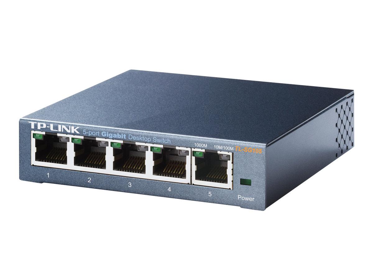 TP-Link TL-SG105 5-Port Metal Gigabit Switch - switch - 5 ports - unmanaged