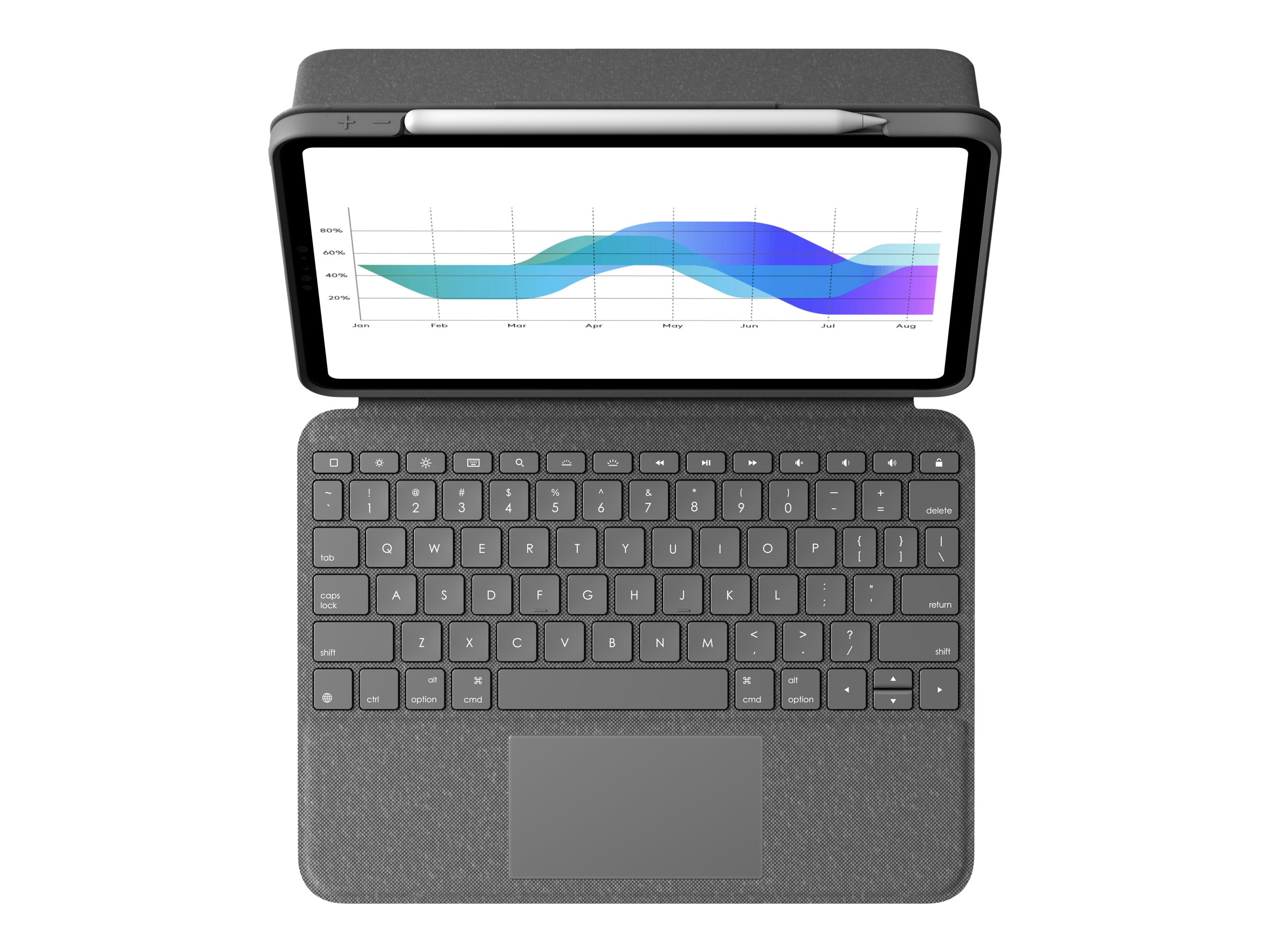 Logitech Folio Touch - keyboard and folio case - with trackpad - oxford gray