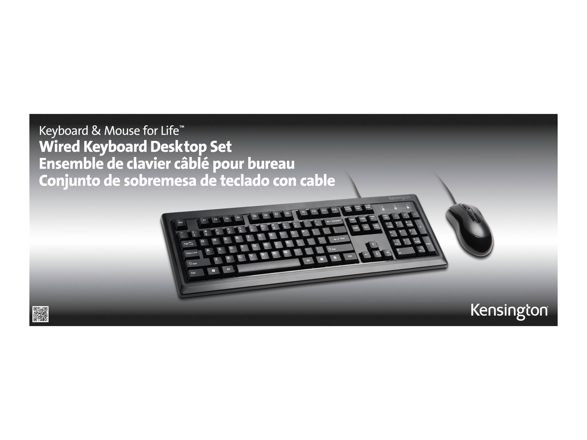 Kensington Keyboard for Life Desktop Set - keyboard and mouse set - black