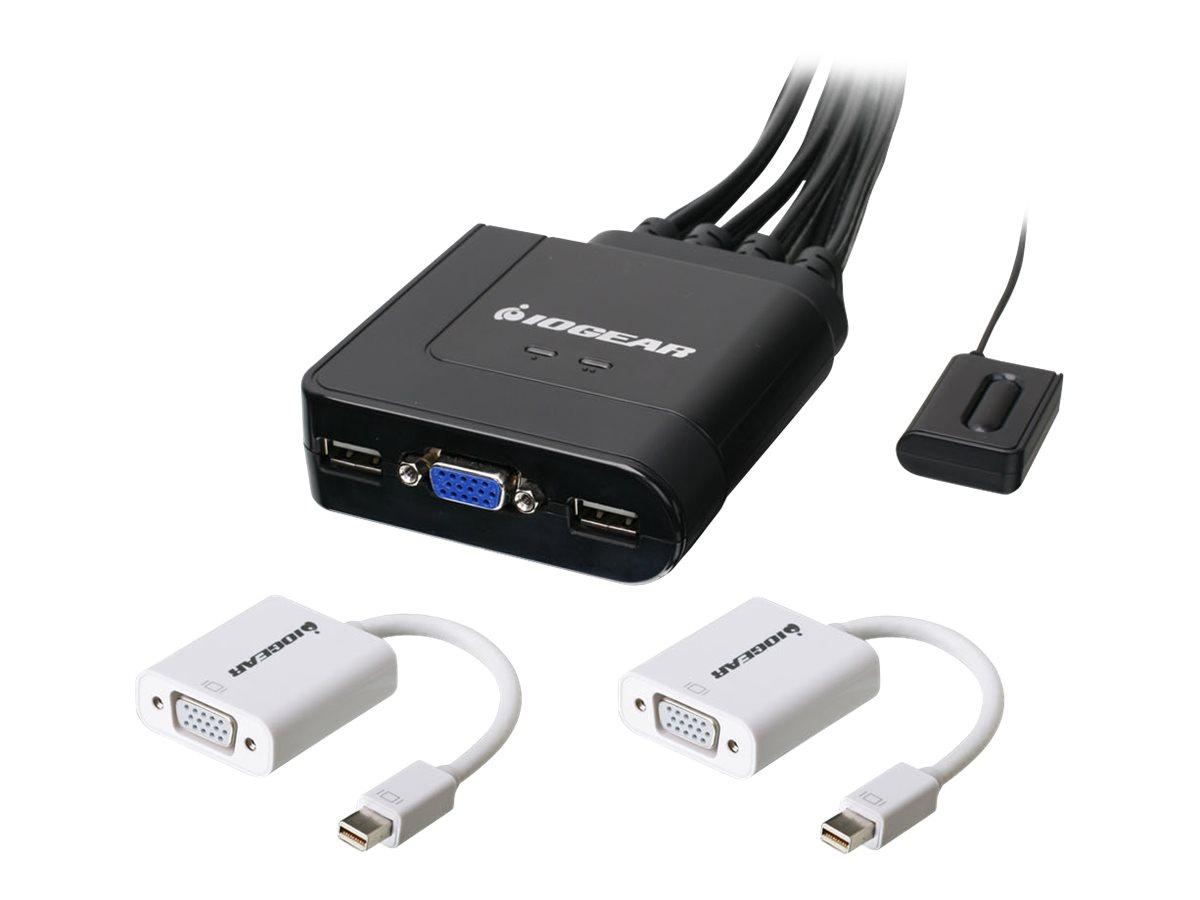 IOGEAR 2-Port VGA and Mini DisplayPort KVM Kit - Cables Included - KVM / audio switch - 2 ports