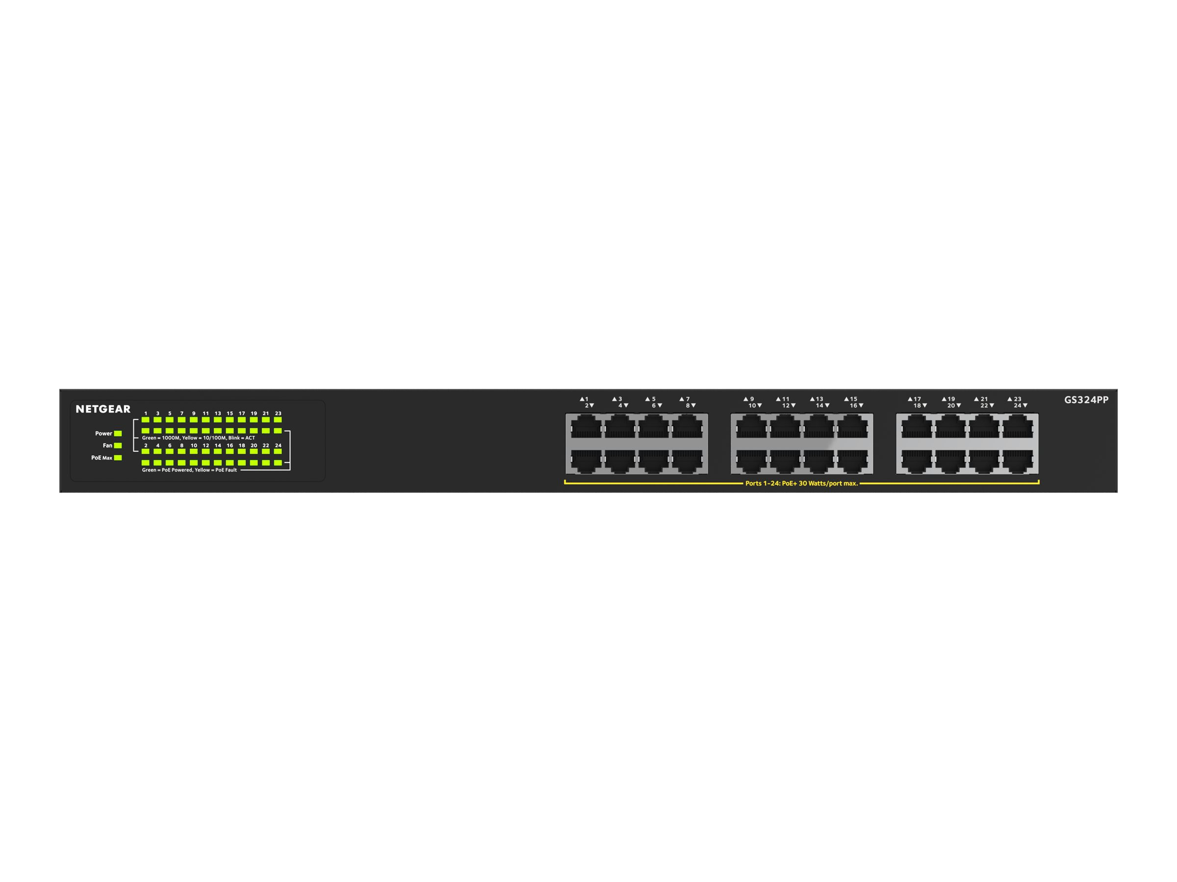 NETGEAR GS324PP - switch - 24 ports - unmanaged - rack-mountable