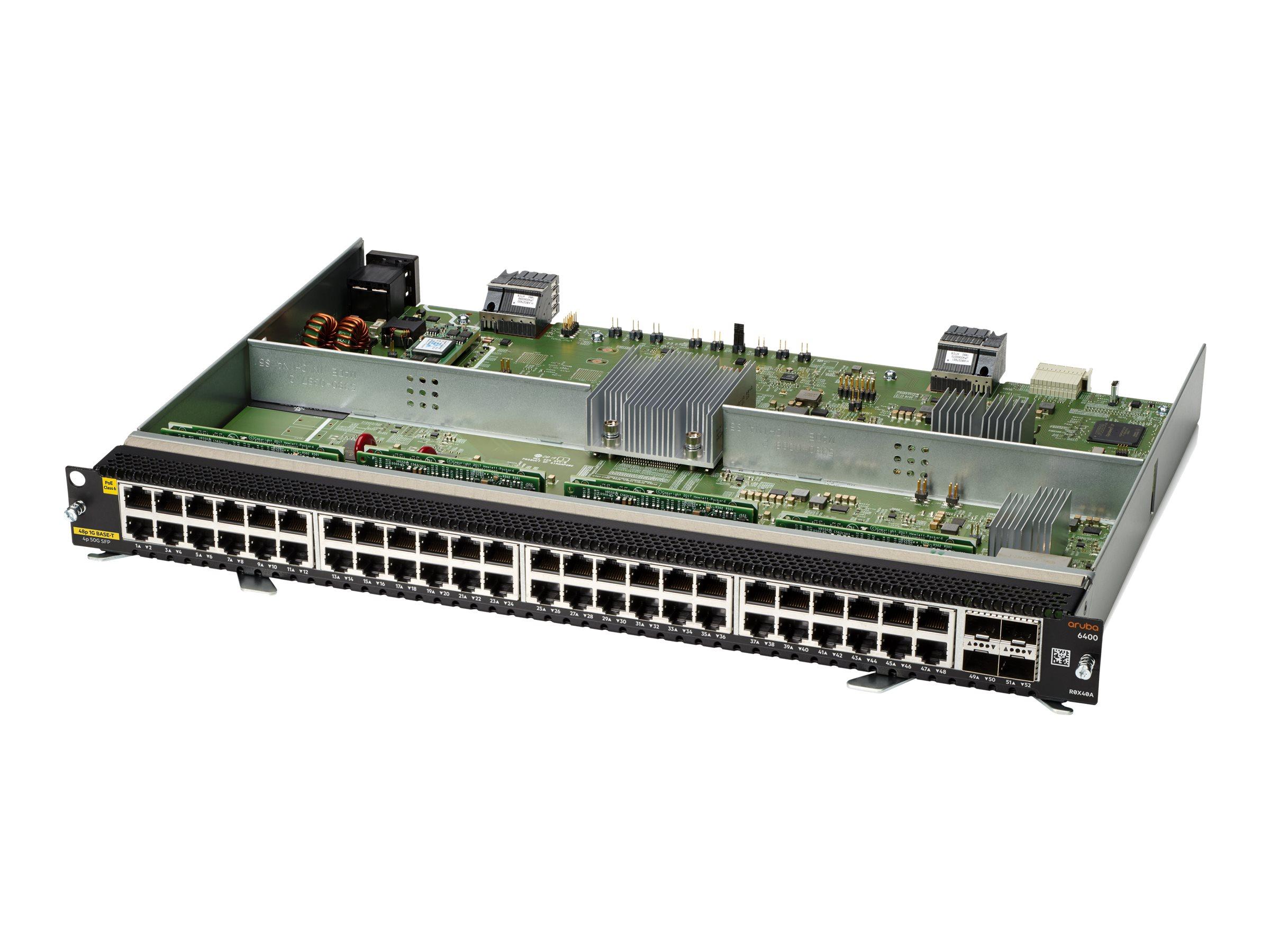 HPE Aruba 6400 - expansion module - Gigabit Ethernet (PoE) x 48 + Gigabit Ethernet x 4