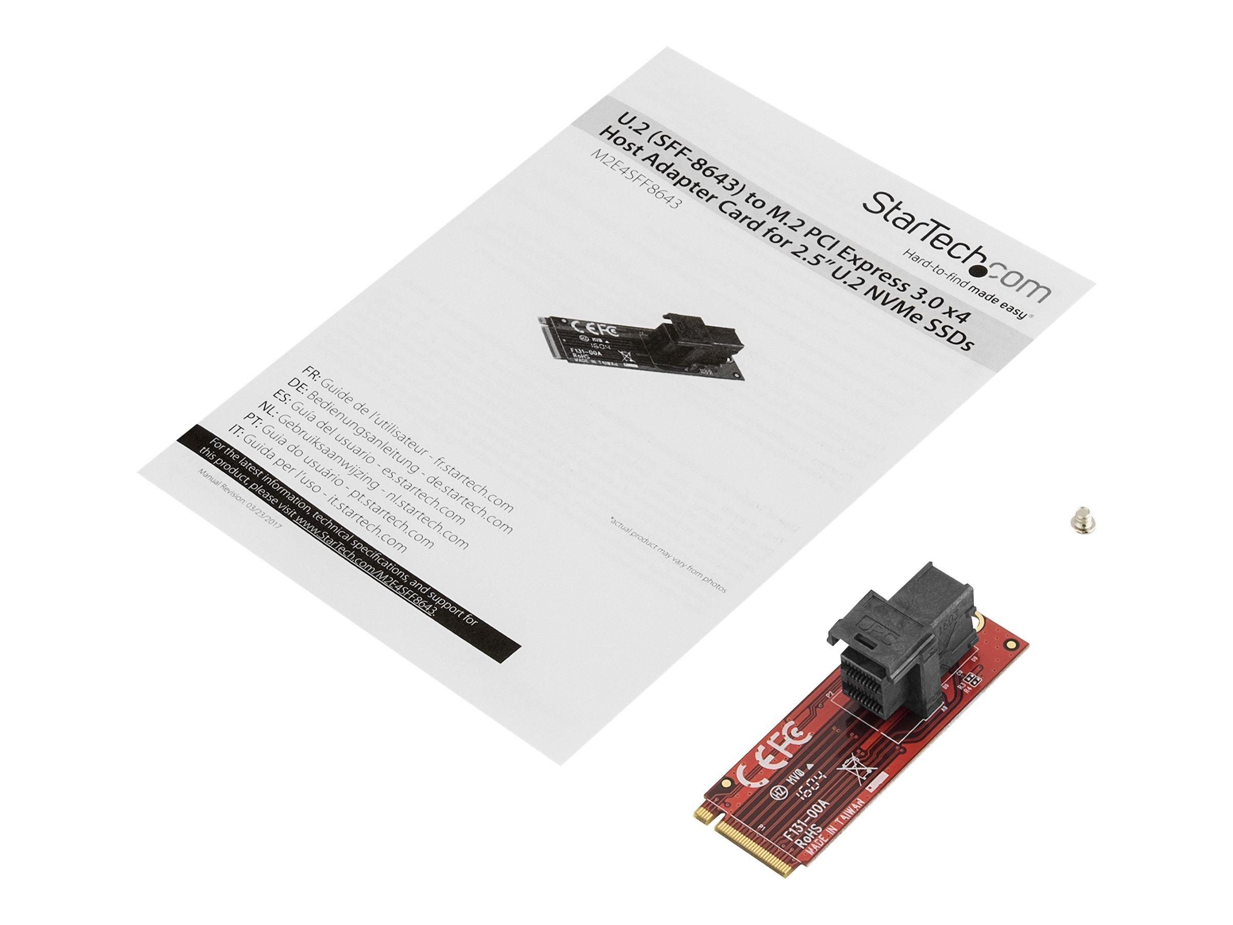 StarTech.com U.2 to M.2 Adapter - for 1 x U.2 PCIe NVMe SSD - M.2 PCIe x4 Host Interface - U.2 SSD - M.2 PCIe Adapter - U.2 Drive (M2E4SFF8643) - interface adapter - SAS - M.2 Card