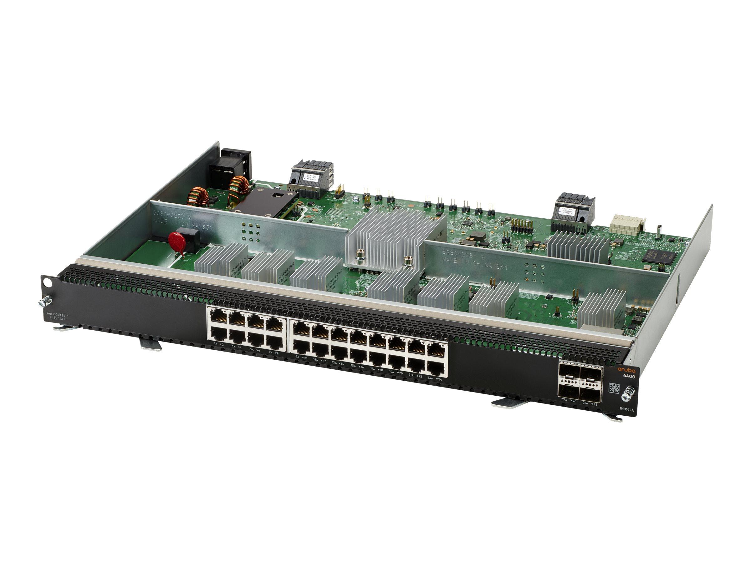 HPE Aruba 6400 - expansion module - 10Gb Ethernet x 24 + 1Gb Ethernet/10Gb Ethernet/25Gb Ethernet/50Gb Ethernet SFP56 x 4