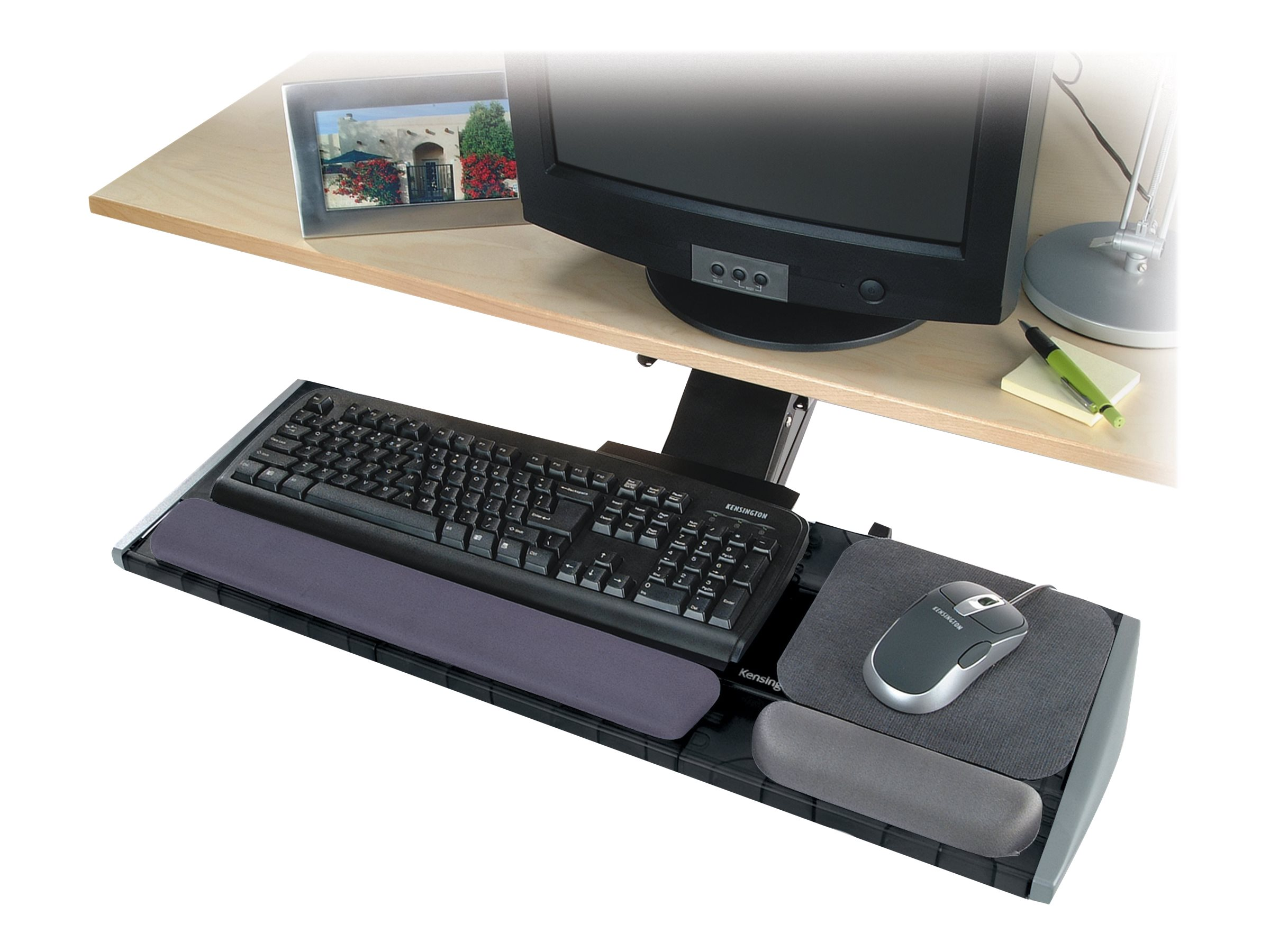 Kensington Underdesk Adjustable Keyboard Platform - keyboard and mouse platform with wrist pillow