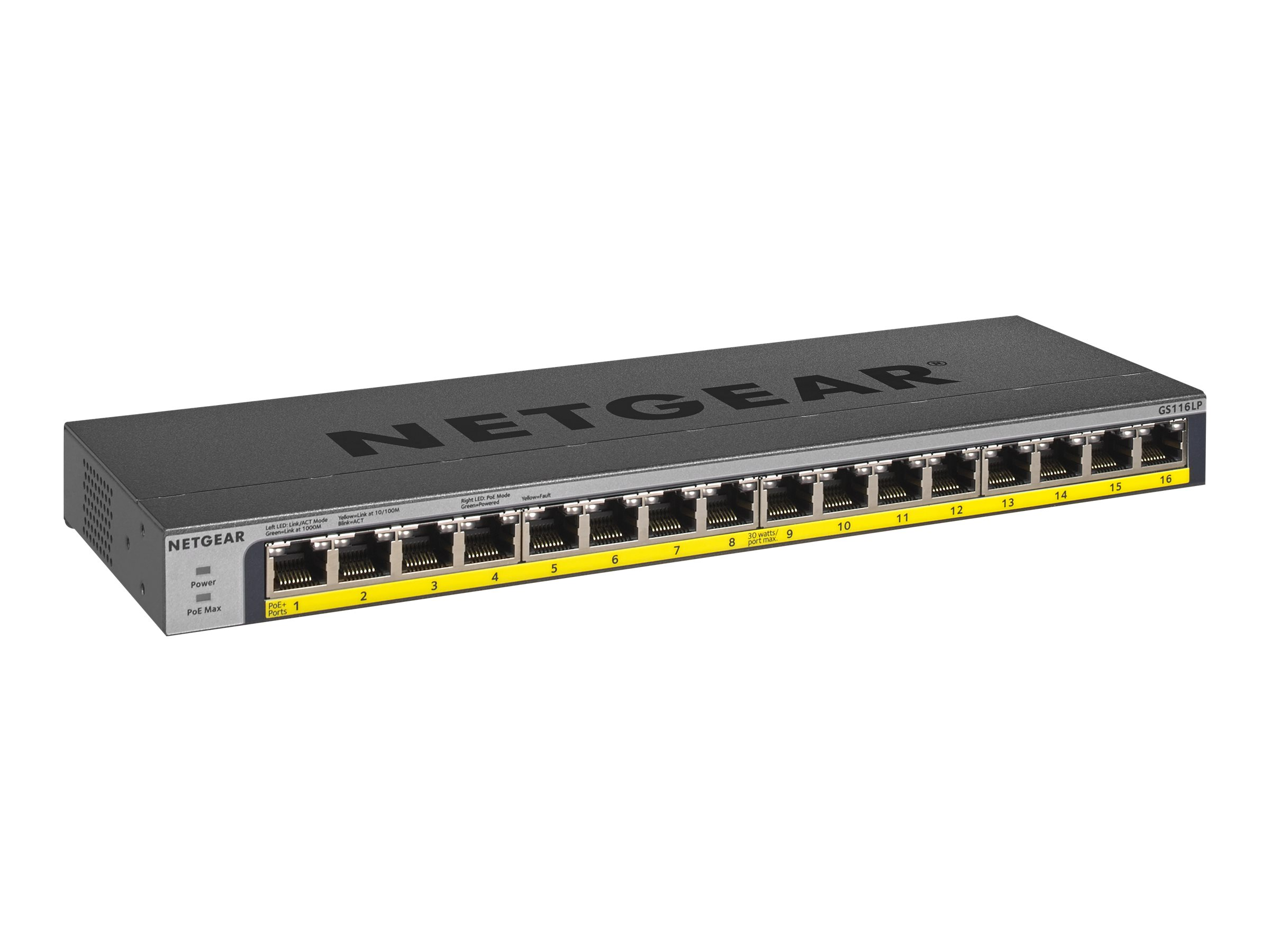 NETGEAR GS116LP - switch - 16 ports - unmanaged - rack-mountable
