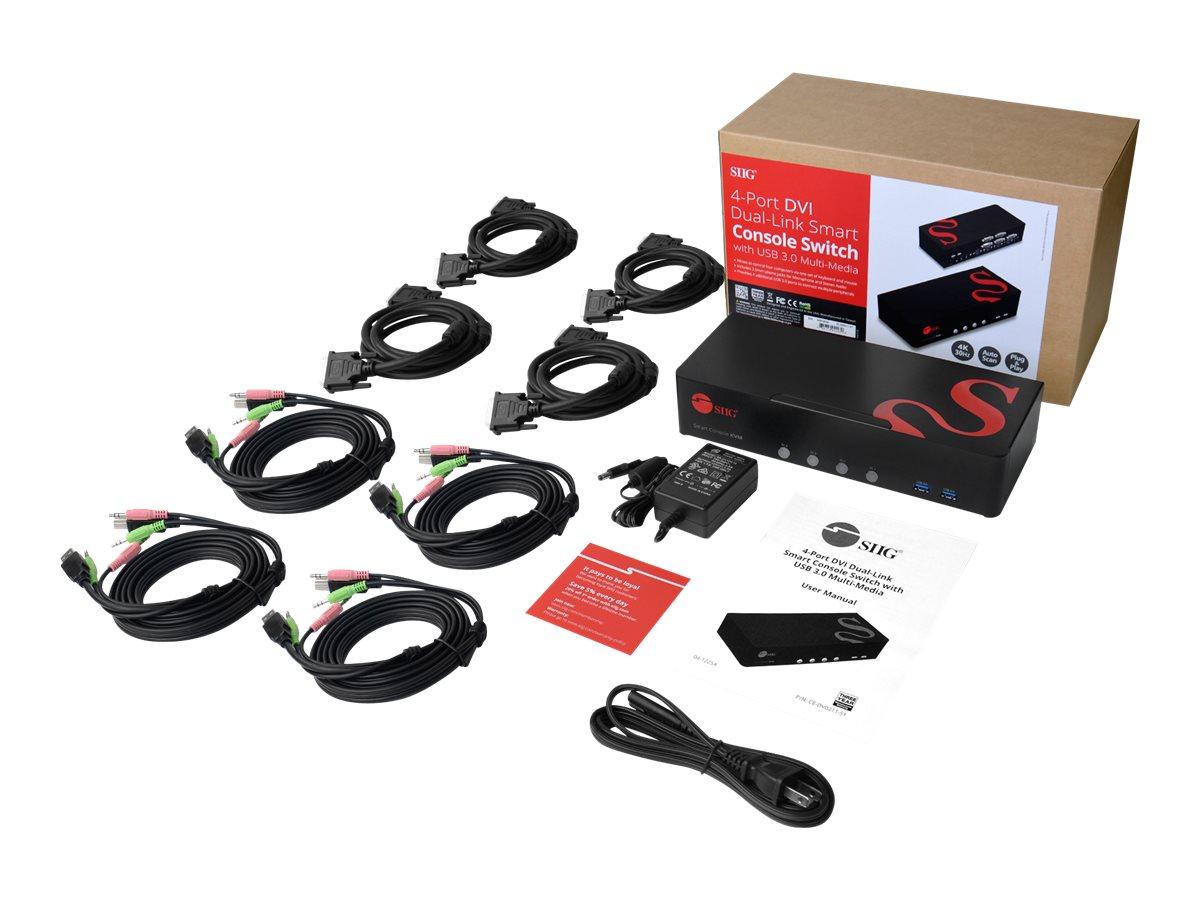 SIIG 4 Port 4K DVI Dual Link KVM Switch with USB 3.0, Audio, Mic - KVM / audio / USB switch - 4 ports