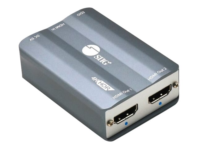 SIIG 1x2 HDMI 2.0 4K HDR Splitter with EDID - video/audio splitter - 2 ports