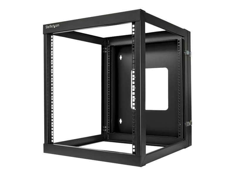StarTech.com 12U Hinged Open Frame Wall Mount Server Rack - 4 Post 22 in. Depth Network Equipment Rack Cabinet - 140 lbs capacity (RK1219WALLOH) rack - 12U