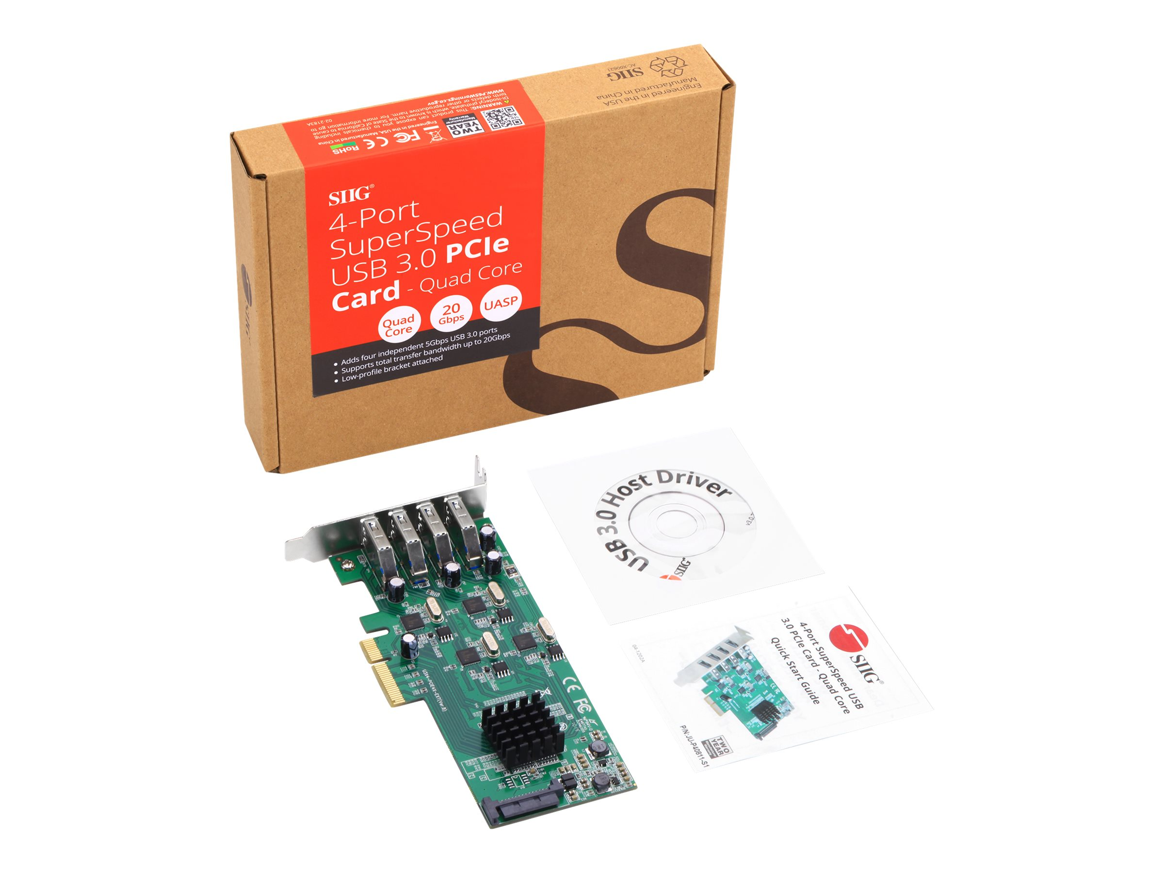 SIIG 4-Port SuperSpeed USB 3.0 PCIe Card - Quad Core - USB adapter - PCIe 2.0 x4 - USB 3.0 x 4