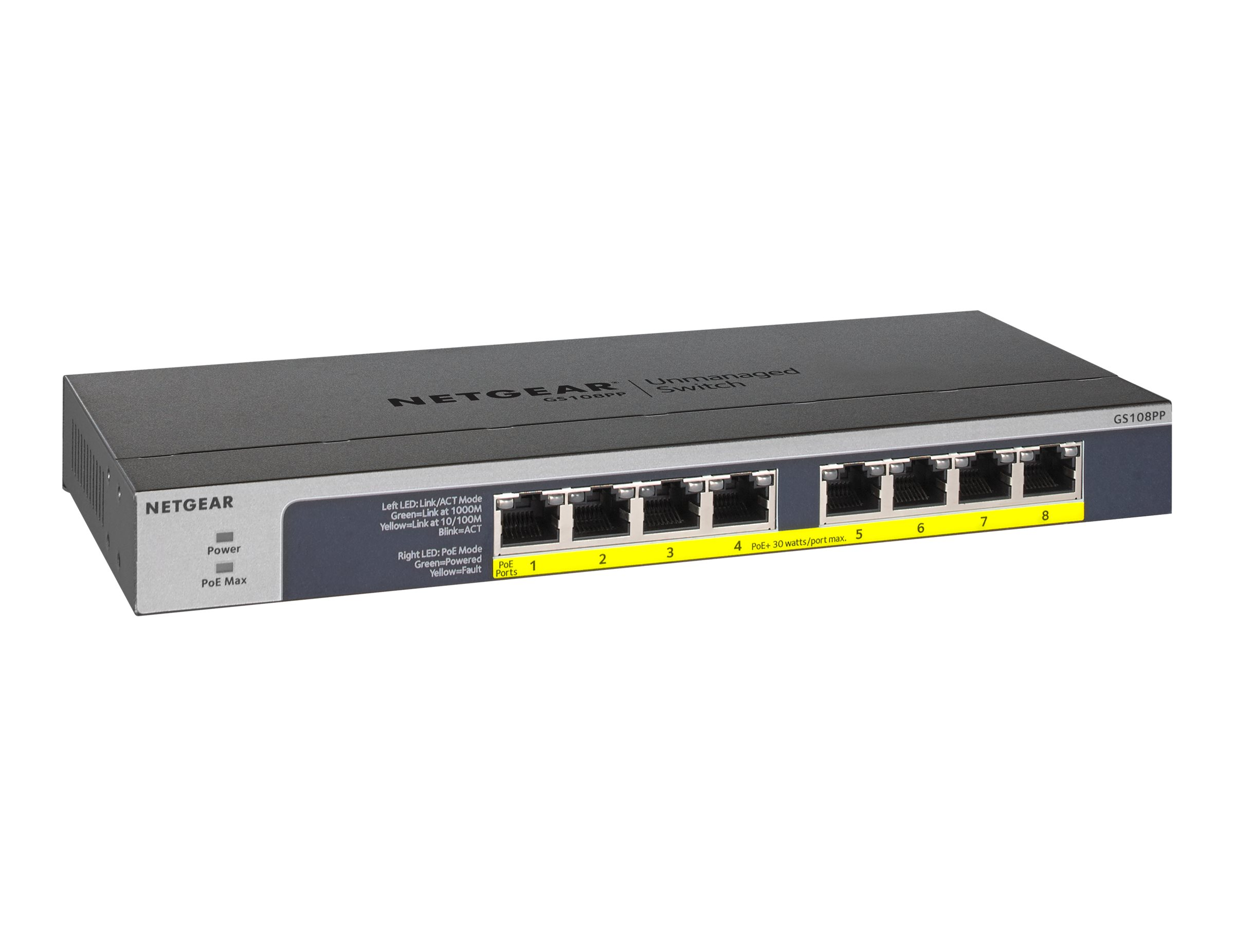 NETGEAR GS108PP - switch - 8 ports - rack-mountable