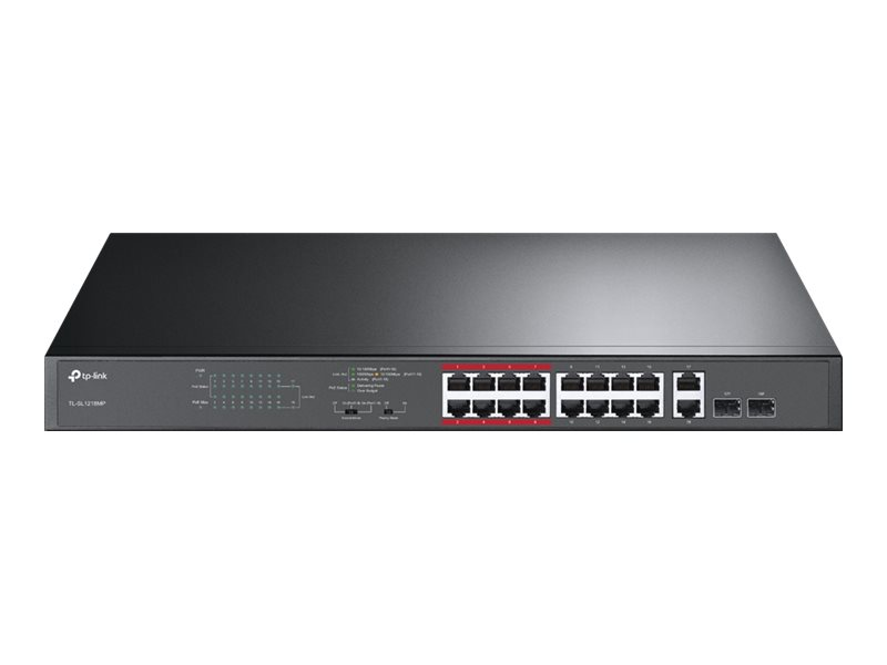 TP-Link TL-SL1218MP - switch - 16 ports - unmanaged - rack-mountable