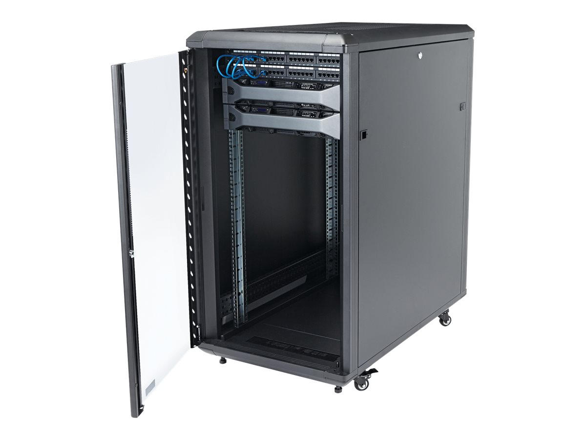StarTech.com 22U Server Rack Cabinet on Wheels - 36 inch Adjustable Depth - Portable Network Equipment Enclosure (RK2236BKF) rack - 22U