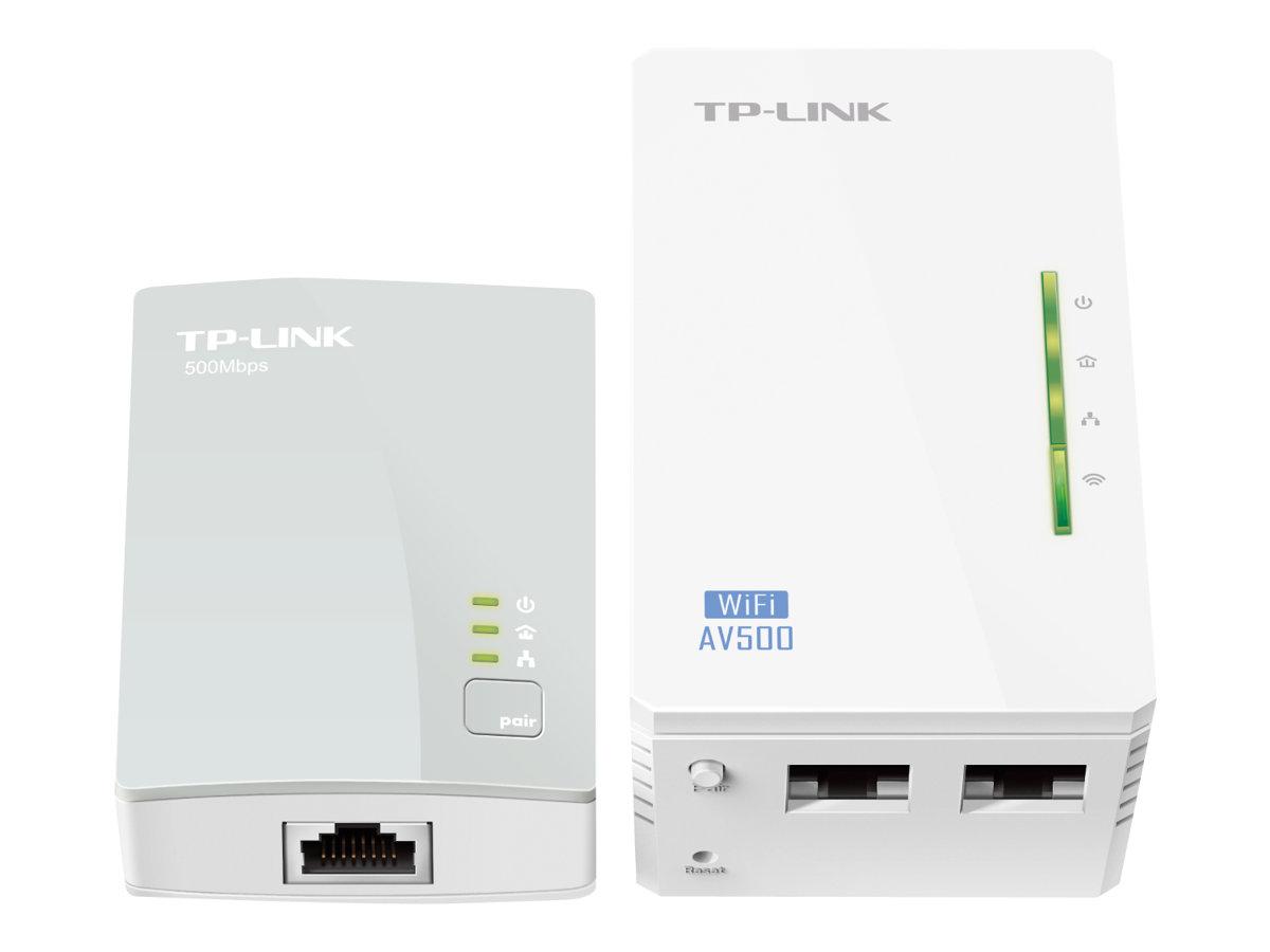 TP-Link TL-WPA4220KIT AV500 2-Port Wifi Powerline Adapter Starter Kit - bridge - 802.11b/g/n - wall-pluggable