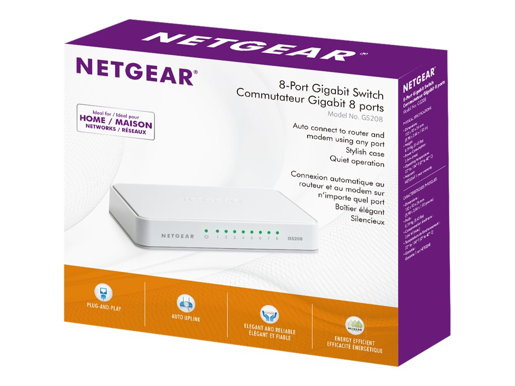NETGEAR GS208 - switch - 8 ports - unmanaged