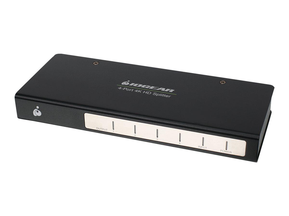 IOGEAR 4-Port Cinema 4K Splitter with HDMI cables Kit - video/audio splitter - 4 ports - rack-mountable