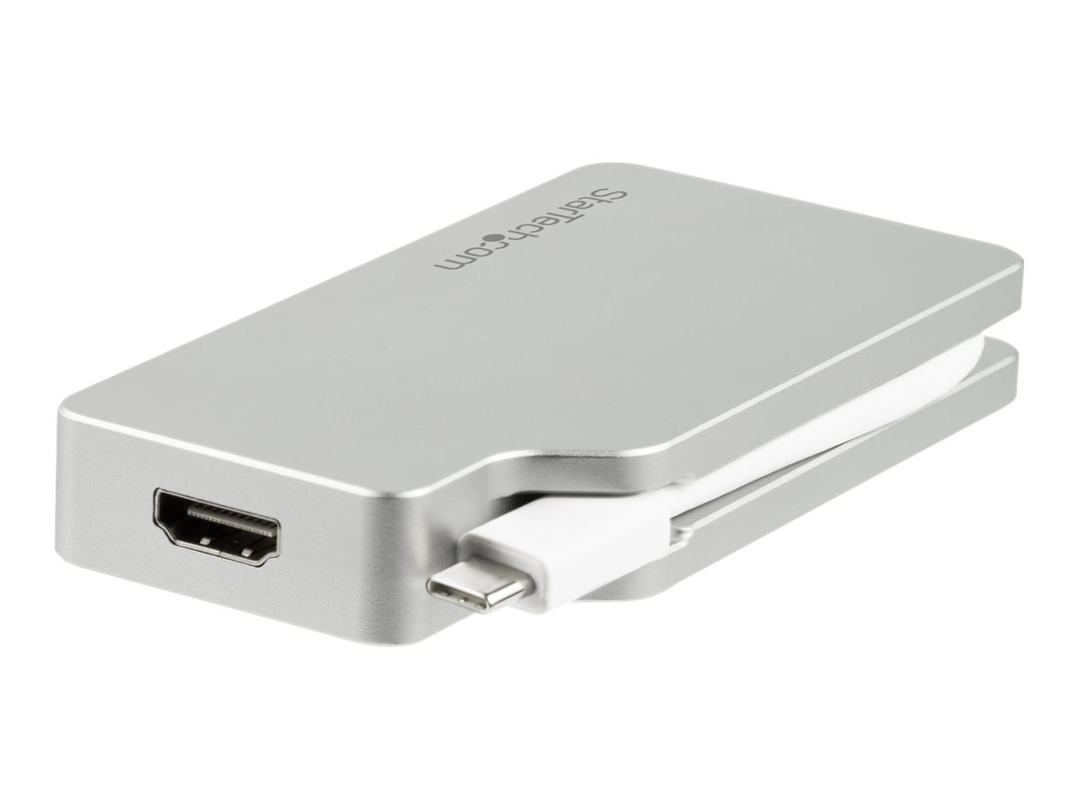 StarTech.com USB C Multiport Video Adapter with HDMI, VGA, Mini DisplayPort or DVI, USB Type C Monitor Adapter to HDMI 1.4 or mDP 1.2 (4K), VGA or DVI (1080p), Silver Aluminum Adapter - 4-in-1 USB-C Converter (CDPVGDVHDMDP) - video interface converter - 4.1 in