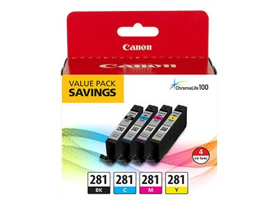 Canon PGI-280 XL / CLI-281 BKCMY 5 Color Value Pack - 5-pack - black, yellow, cyan, magenta, pigmented black - original - ink tank