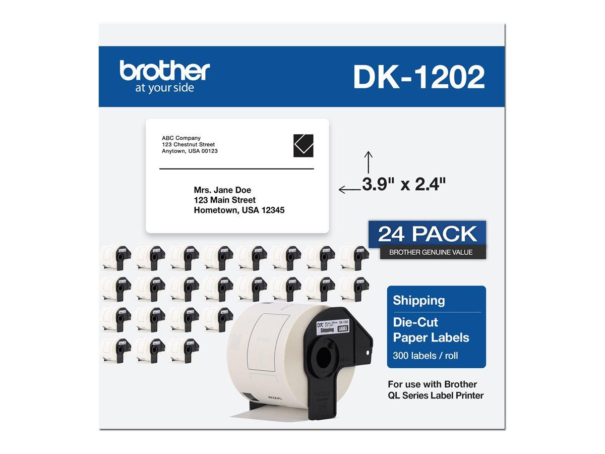 Brother DK-1202 - die cut labels - 7200 label(s) - 2.44 in x 3.94 in