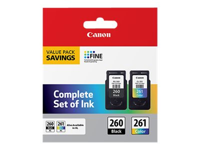 Canon PG-260 / CL-261 Value Pack - 2-pack - black, color (cyan, magenta, yellow) - original - ink cartridge