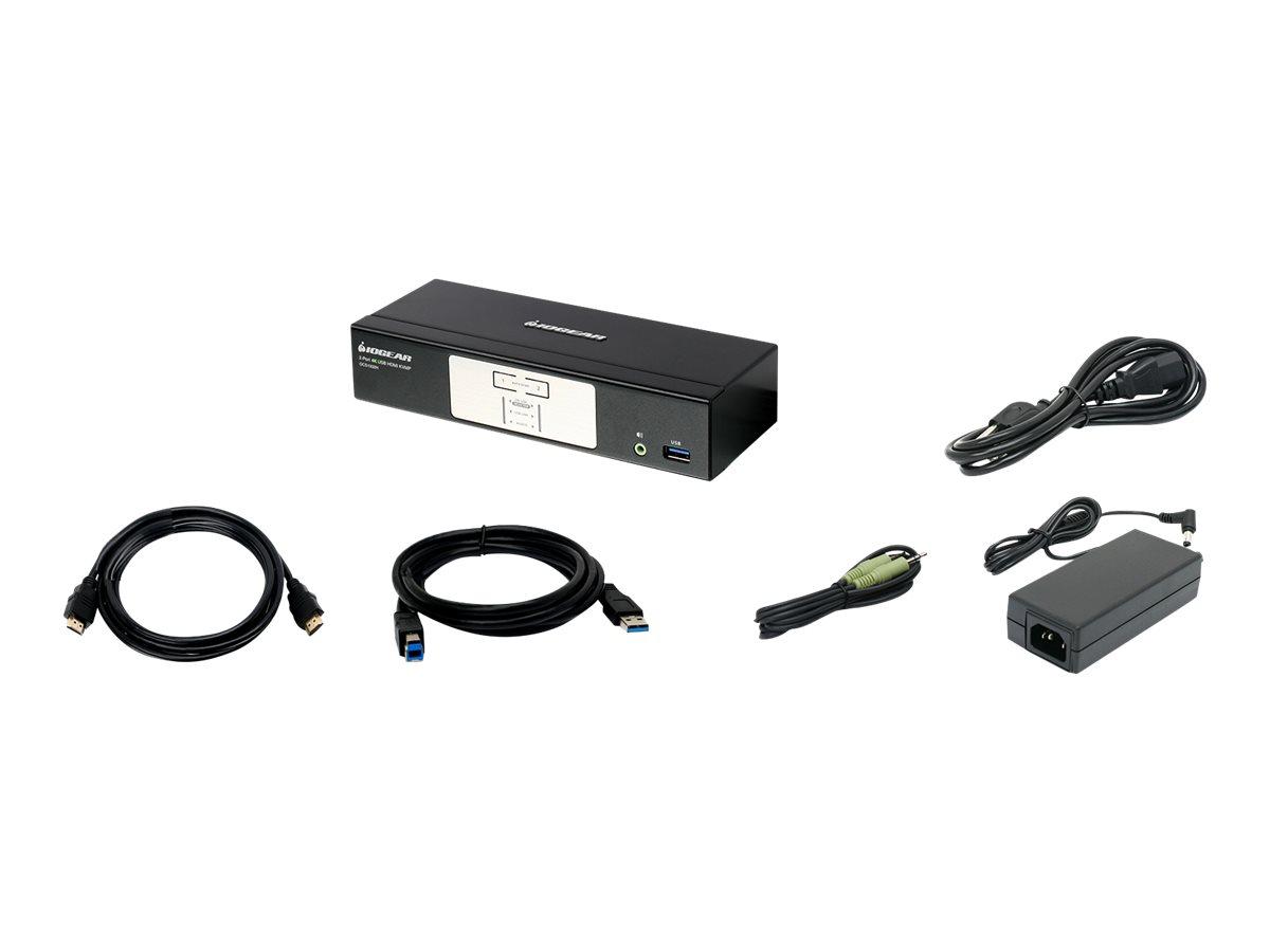 IOGEAR 2-Port Cinema 4K KVMP Switch with HDMI and USB 3.1 Gen1 Hub and Audio Mixer - KVM / audio switch - 2 ports