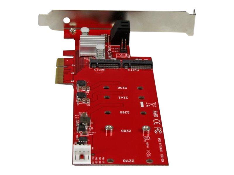 StarTech.com 2x M.2 NGFF SSD RAID Controller Card plus 2x SATA III Ports - PCIe - Two Slot PCI Express M.2 RAID Card plus Two SATA Ports (PEXM2SAT3422) - storage controller (RAID) - M.2 Card / SATA 6Gb/s - PCIe 2.0 x2