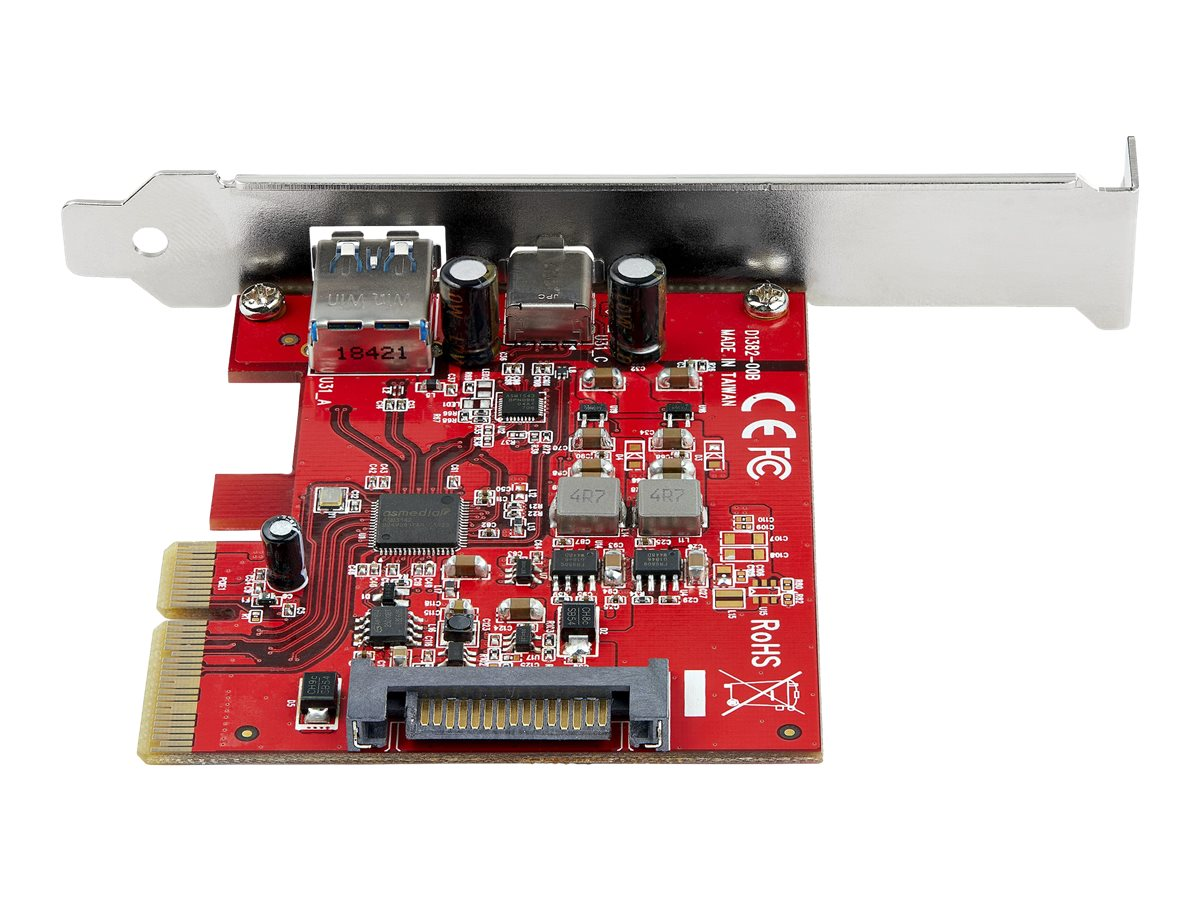 StarTech.com 2-Port 10Gbps USB-A & USB-C PCIe Card, USB 3.1 Gen 2 PCI Express Type C/A Host Controller Card Adapter, USB 3.2 Gen 2x1 PCIe Desktop Expansion Add-On Card, Windows/macOS/Linux - Full/Low-Profile (PEXUSB311AC3) - USB adapter - PCIe 3.0 x4 - USB-C 3.1 x 1 + USB 3.1 Gen 2 x 1
