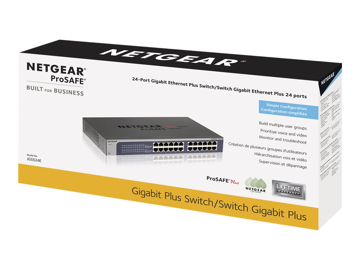 NETGEAR Plus JGS524Ev2 - switch - 24 ports - managed - rack-mountable