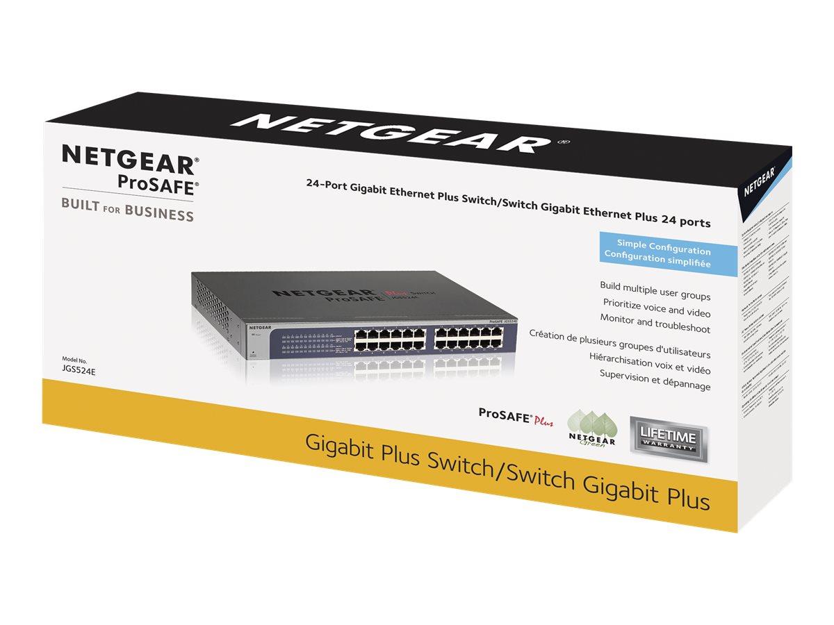 NETGEAR Plus JGS524Ev2 - switch - 24 ports - managed - rack-mountable