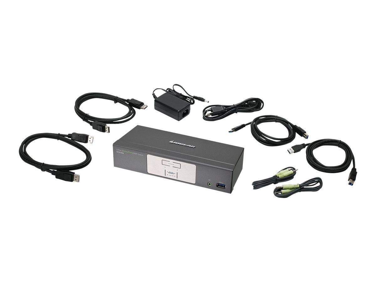 IOGEAR 2-Port 4K UHD DisplayPort KVMP Switch with USB 3.0 Hub and Audio - Cables Included - KVM / audio / USB switch - 2 ports