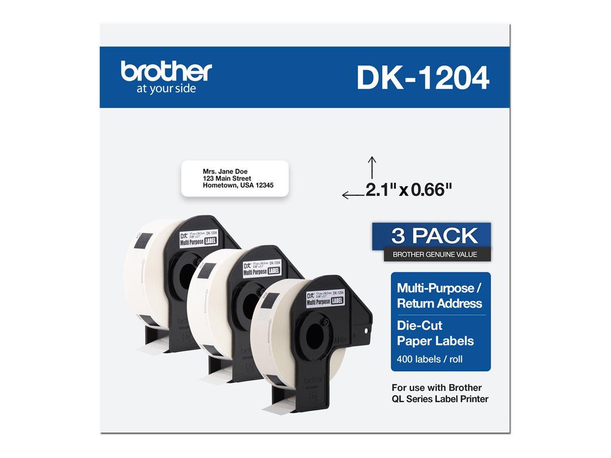 Brother DK-1204 - die cut labels - 1200 label(s) - 0.67 in x 2.14 in