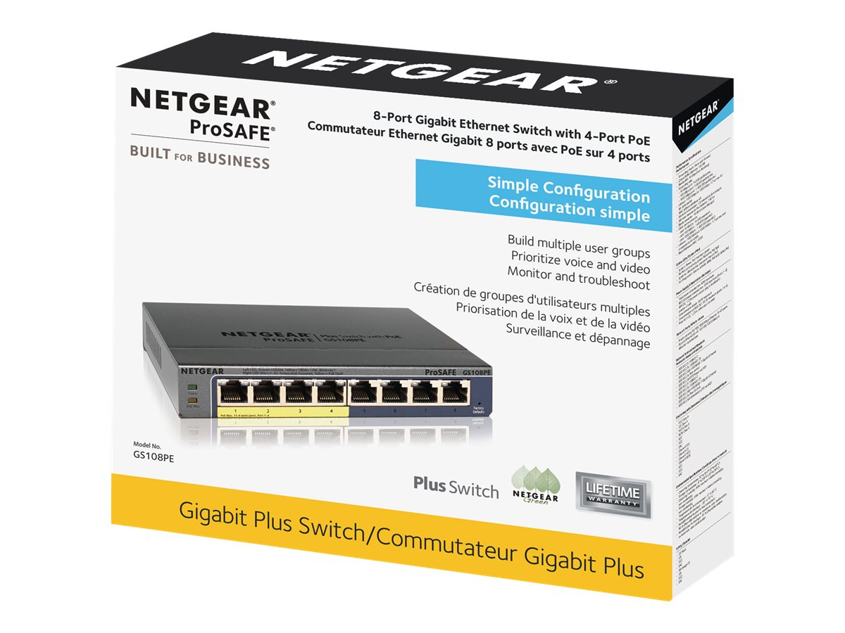 NETGEAR Plus GS108PEv3 - switch - 8 ports - managed