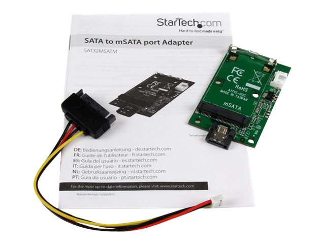 StarTech.com SATA to mSATA SSD Adapter - Port Mounted SATA to Mini SATA Drive Converter Card - 7-Pin SATA to mSATA Adapter Converter Card (SAT32MSATM) - storage controller - SATA 6Gb/s