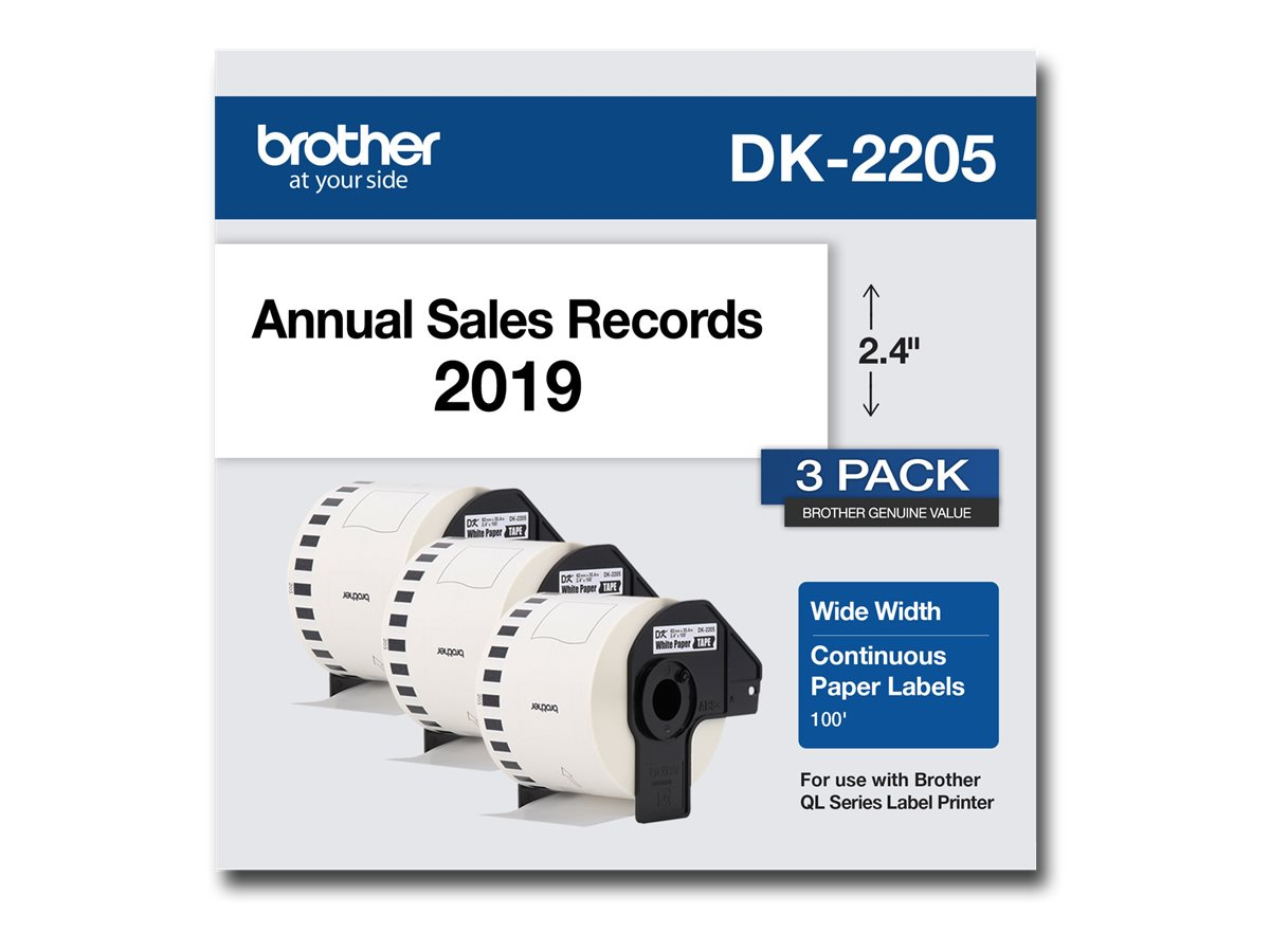 Brother DK-2205 - continuous labels - 3 roll(s) - Roll (2.4 in x 100 ft)
