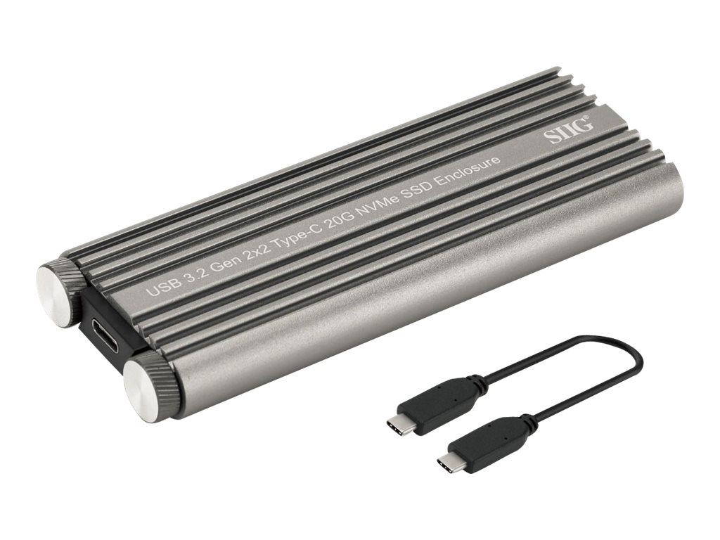 SIIG USB 3.2 Gen 2x2 Type-C 20G PCIe NVMe SSD Enclosure - storage enclosure - M.2 NVMe Card / PCIe 3.0 (NVMe) - USB 3.2 (Gen 2x2)