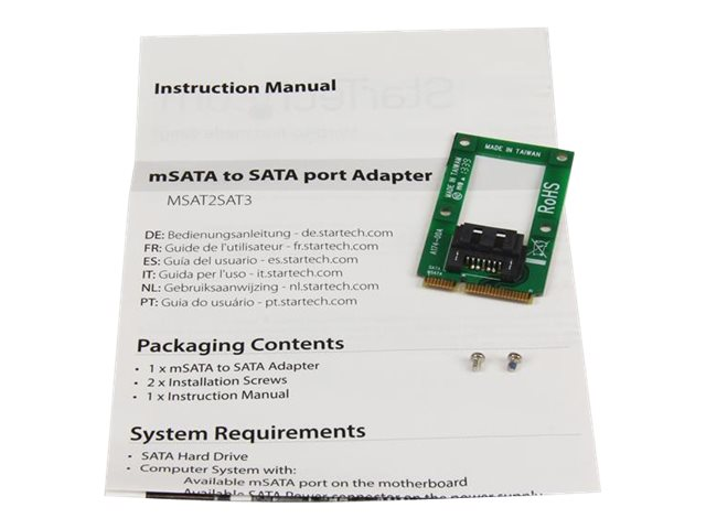 StarTech.com mSATA to SATA HDD / SSD Adapter - Mini SATA to SATA Converter Card - mSATA to SATA 2.5/3.5 Hard Drive Adapter Converter Card (MSAT2SAT3) - storage controller - mSATA - SATA 6Gb/s