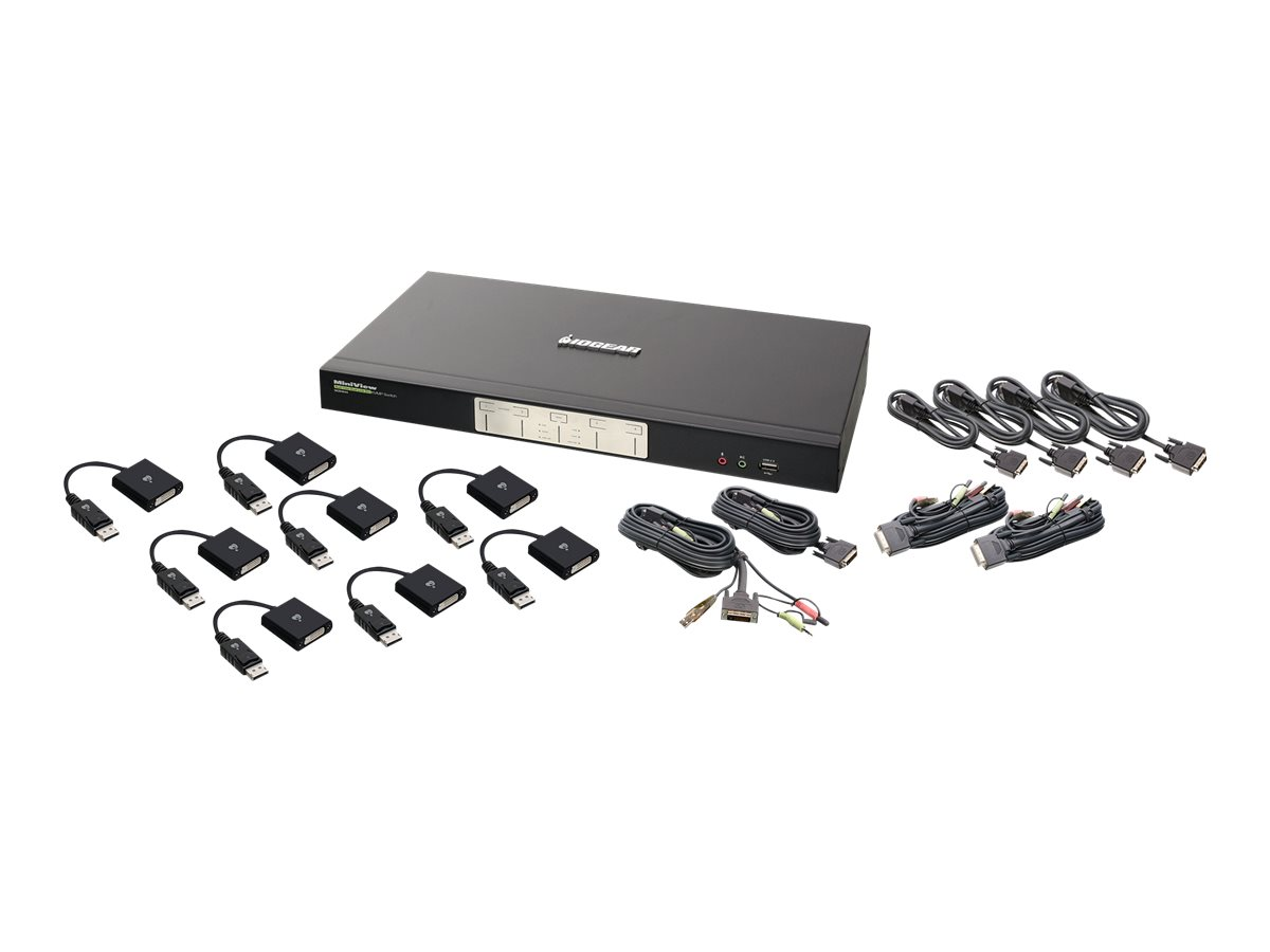 IOGEAR 4-Port Dual View Dual-Link DVI and DisplayPort KVM Kit - Dual Head - Cables Included - KVM / audio / USB switch - 4 ports