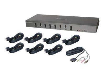IOGEAR GCS1108KIT1 8-Port DVI KVMP Switch with Cable Set - KVM / audio / USB switch - 8 ports