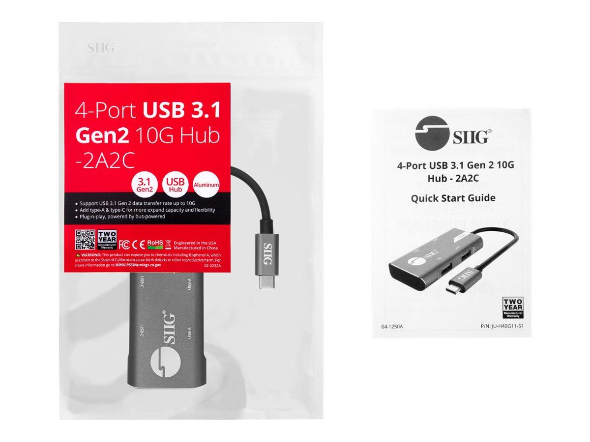 SIIG 4-Port USB 3.1 Gen 2 10G Hub - hub - 4 ports