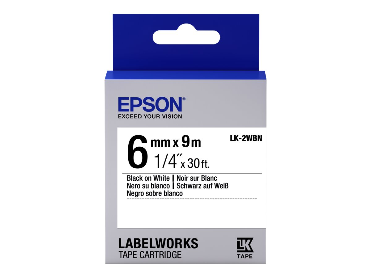 Epson LabelWorks LK-2WBN - label tape - 1 roll(s) - Roll (0.24 in x 29.5 ft)