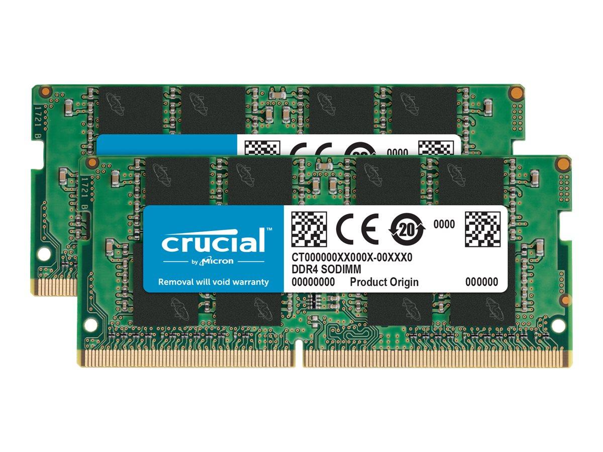 Crucial - DDR4 - kit - 16 GB: 2 x 8 GB - SO-DIMM 260-pin - 2666 MHz / PC4-21300 - unbuffered