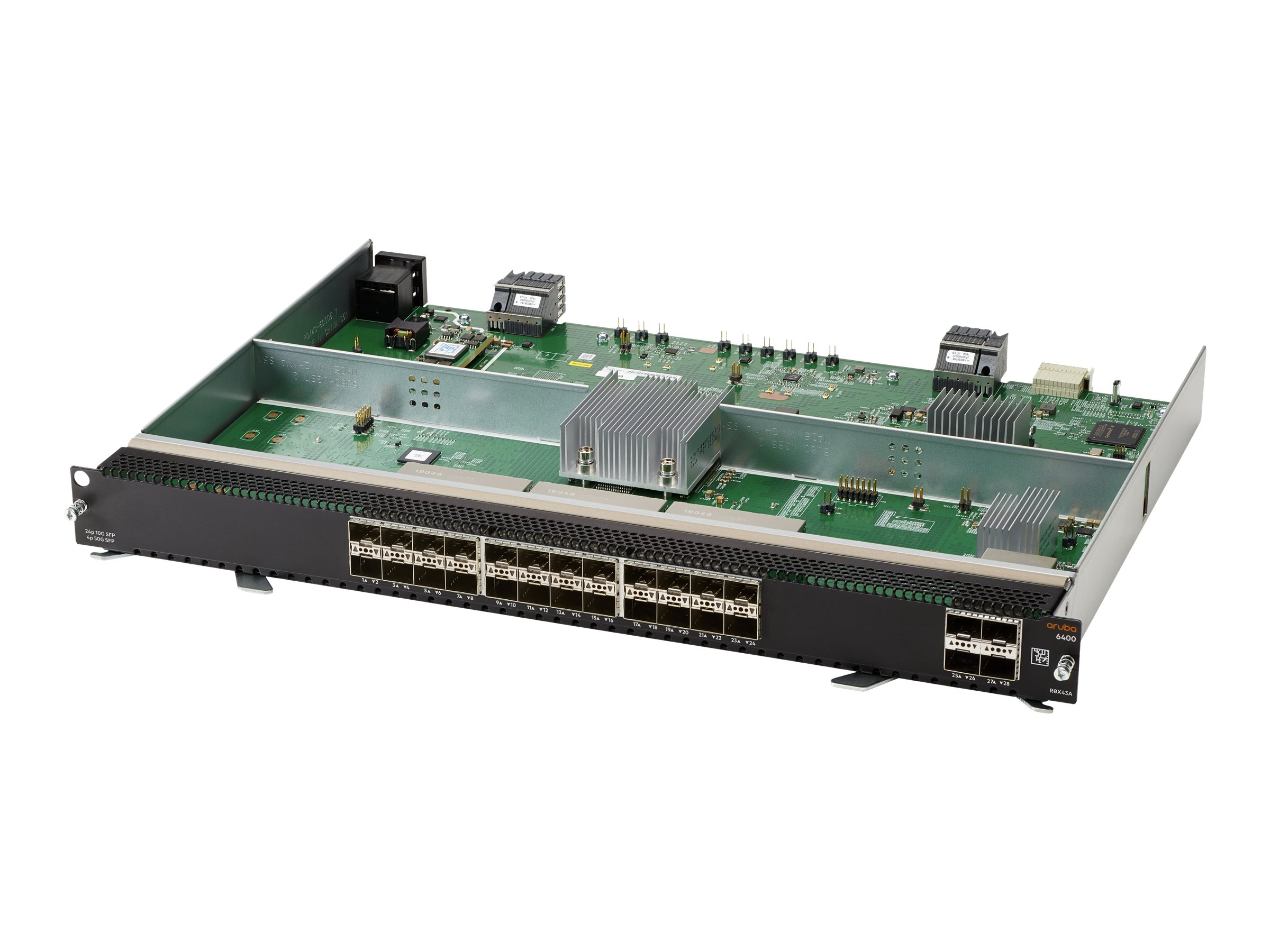 HPE Aruba 6400 - expansion module - 100M/1G/10 Gigabit Ethernet x 24 + 1Gb Ethernet/10Gb Ethernet/25Gb Ethernet/50Gb Ethernet SFP56 x 4